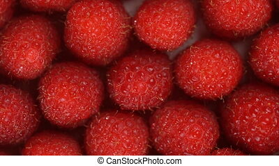 Fresh, ripe, juicy raspberry background, close up berry,...