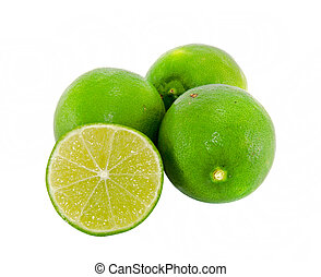Fresh ripe lime on white background