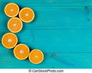 Fresh Ripe Natural Healthy Oranges On A Blue Background