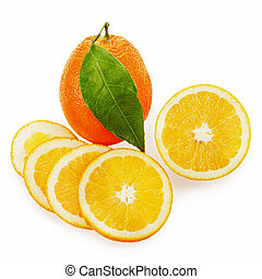 fresh ripe orange fruits with cut and green leaves isolated on w
