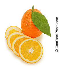fresh ripe orange fruits with cut and green leaves isolated on white background