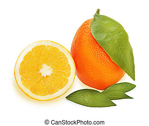 fresh ripe orange fruits with cut and green leaves isolated