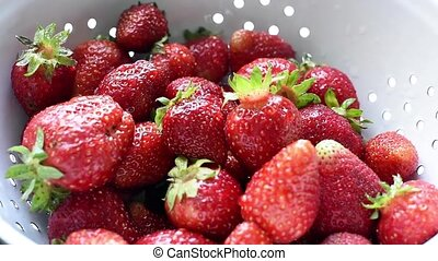organic strawberries - Fresh ripe organic strawberries in a...