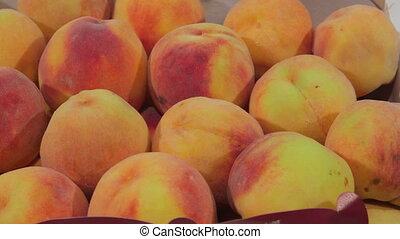 Fresh ripe peaches for sale - Fresh ripe peaches in the box...