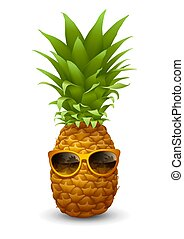 Fresh ripe Pineapple wearing the sunglasses. Summer vacation concept. Realistic vector illustration. Isolated on white background.