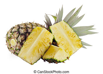 Fresh ripe pineapples isolated on white background