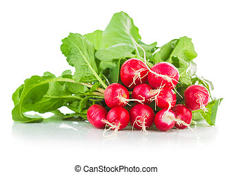 Fresh ripe radish vegetable with green leaves. Isolated on...