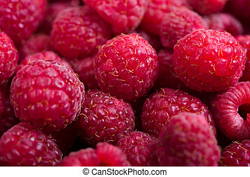 Fresh ripe raspberries macro shot, summer fruit background