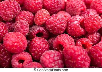Fresh ripe raspberries macro shot, summer fruit background