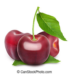 Fresh ripe red cherries with leaves isolated on white background.