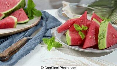 Fresh ripe sliced watermelon on white background.