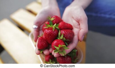 Fresh ripe strawberry in the hands of a beautiful woman.