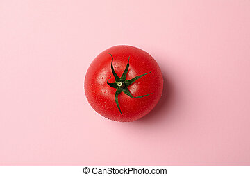 Fresh ripe tomato on pink background, top view