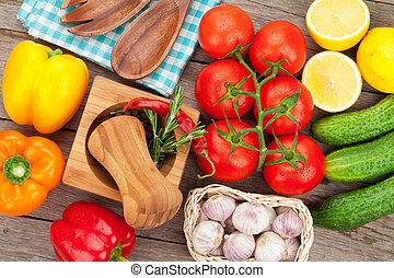 Fresh ripe vegetables and spices