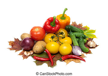 fresh ripe vegetables isolated on white background