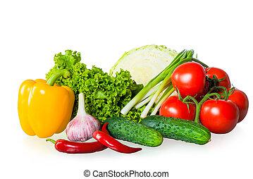 fresh ripe vegetables on white background