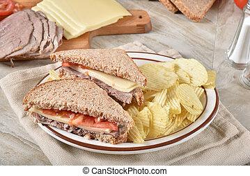 Fresh roast beef and swiss cheese sandwich