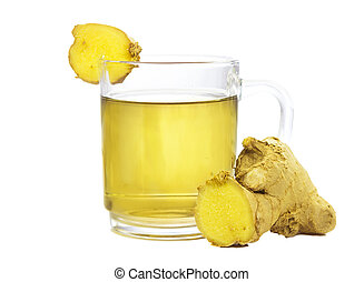 Cut rhizome of fresh root ginger, or Zingiber officinale, with a glass of fresh infusion or tea used to aid weight loss and as a treatmet for dyspepsia, on a white background
