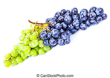 fresh rose and green grapes with leaf