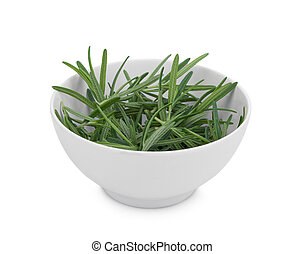 fresh rosemary in the white bowl isolated on white background