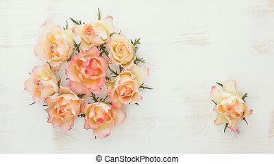 Fresh roses wreath.