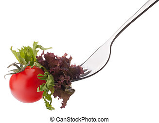 Fresh salad and cherry tomato on fork isolated on white background cutout. Healthy eating concept.