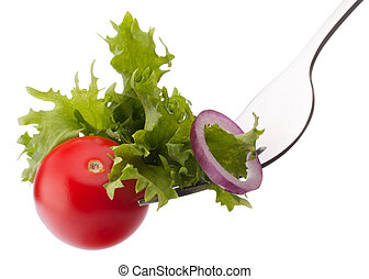 Fresh salad and cherry tomato on fork isolated on white...