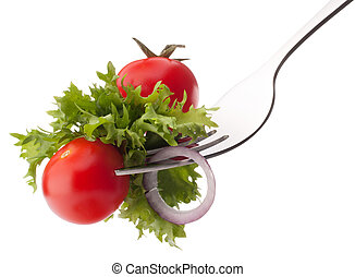 Fresh salad and cherry tomato on fork isolated on white ...
