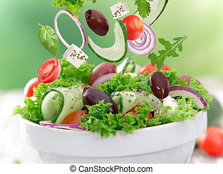 fresh salad - Fresh salad over white background