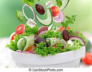 fresh salad - Fresh salad over white background