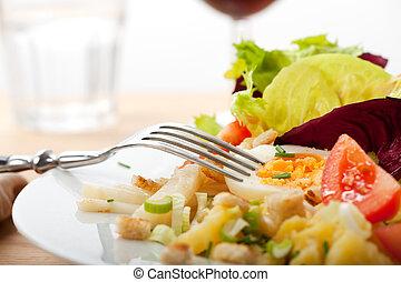 fresh, salad , green, food, egg, yolk, potato, glass ,plate...