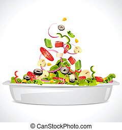 Fresh Salad - illustration of bowl full of fresh vegetable...