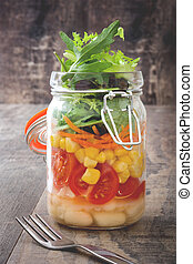 Fresh salad in jar