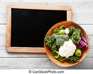 Fresh Salad Ingredients on Small Chalkboard Corner - Close ...