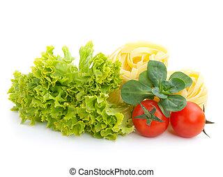 fresh salad, lettuce leaves, macaroni and tomato