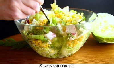 fresh salad of young cabbage with sweet corn