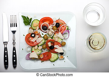 fresh salad on a glass plate