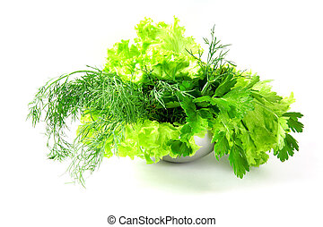 Fresh salad, parsley, dill on white background