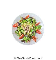 Fresh salad plate with avocado tuna