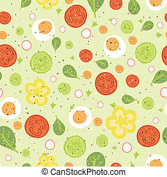 Fresh salad seamless pattern background - vector fresh salad...