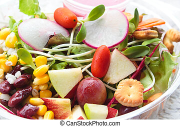 Fresh salad vegetable and fruit.