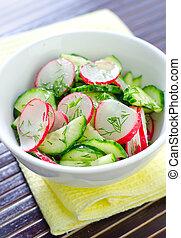 fresh salad with cucumber and radish