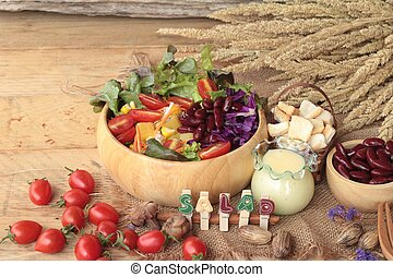 Fresh salad with dressing is a delicious .