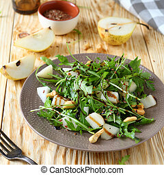fresh salad with pear and arugula, food