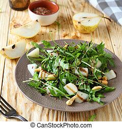 fresh salad with pear and arugula, food