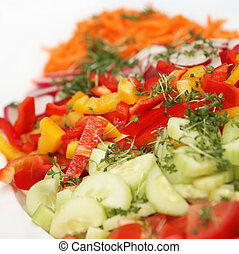 fresh salad with peppers and cucumbers - square - close up