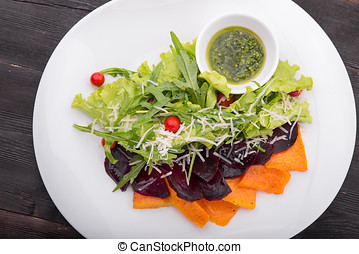 fresh salad with pumpkin and beetroot