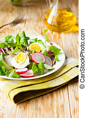 fresh salad with radish and egg