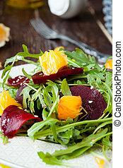 fresh salad with roasted beetroot and orange