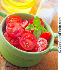 Fresh salad with tomato and basil